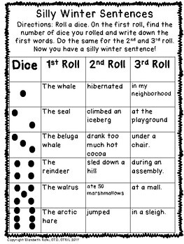 MORE WINTER roll a dice silly ARCTIC animal sentences and stories k12345