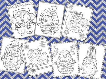 Winter Penguins (more!) Coloring Pages - The Crayon Crowd, Christmas