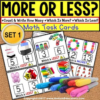 """MORE or LESS (Greater/Less Than) Task Cards """"TASK BOX FILLER"""" for Autism"""