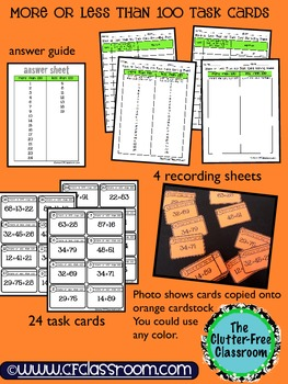 MORE or LESS THAN 100 TASK CARDS (addition/place value/estimation) Common Core
