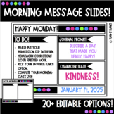 EDITABLE MORNING SLIDES!  Black and Bright! Great for DISTANCE LEARNING!