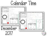 MORNING WORK - Calendar Time Worksheets December 2017