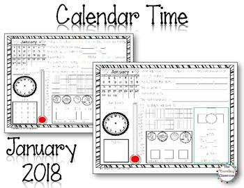 morning work calendar time worksheets january 2018 tpt. Black Bedroom Furniture Sets. Home Design Ideas