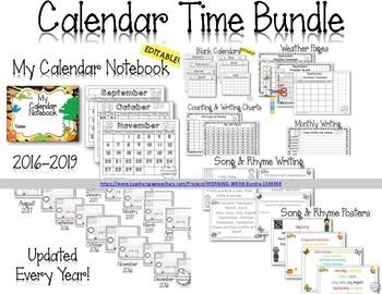 MORNING WORK -  Calendar Time Worksheets January 2018