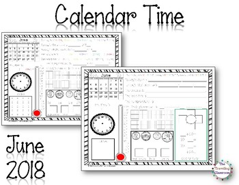 MORNING WORK Calendar Time Worksheets - June - Common Core