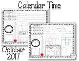MORNING WORK Calendar Time Worksheets - October