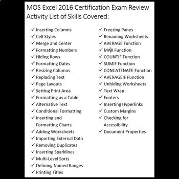 Certification Exam Review for MOS Microsoft Excel 2016