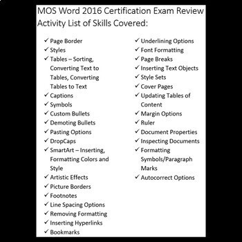 Certification Exam Review for MOS Microsoft Word 2016