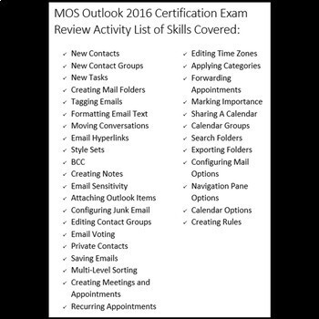 Certification Exam Review for MOS Microsoft Outlook 2016