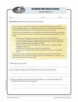MOST DIVERSE COUNTRY: UNITED STATES OF AMERICA—History Worksheets and Activities