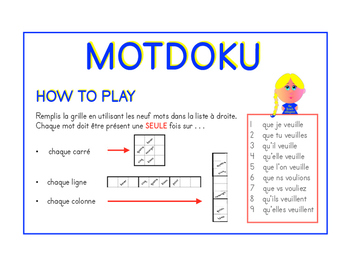 Motdoku (word sudoku) du subjonctif de VOULOIR