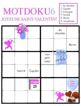 MOTDOKU6: la Saint-Valentin (a simplified FRENCH word sudoku)