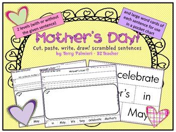 MOTHER'S DAY ~ Cut, Paste, Write, Draw! Scrambled Sentences