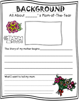 "MOTHER'S DAY - WRITING ACTIVITIES  ""MOTHER-OF-THE-YEAR"""