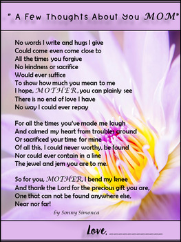"""MOTHER'S DAY - """" A Few Thoughts About You MOM"""""""