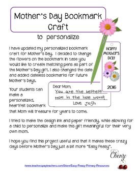 MOTHER'S DAY Bookmark and Gift Idea (updated)
