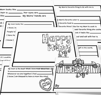 Mothers Day Student Completion Book Crafts