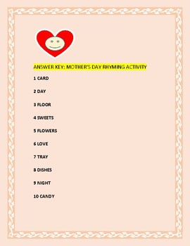 MOTHER'S DAY RHYMING ACTIVITY: GRADES  3-6