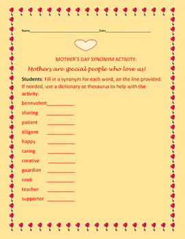 MOTHER'S DAY SYNONYM ACTIVITY