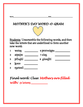 MOTHER'S DAY WORD-O-GRAM