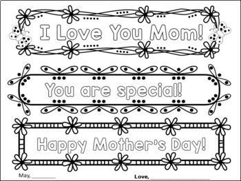 MOTHER'S DAY WRITING PROMPTS ACTIVITIES - CRAFT CARD FOR MY MOM