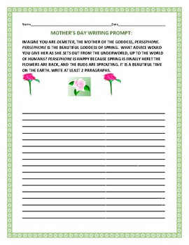 MOTHER'S DAY WRITING PROMPT: PERSEPHONE, GODDESS OF SPRING