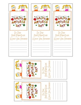 MOTHERS DAY BOOKMARKS, BUNDLE 8 PAGES, 9 BOOKMARK TEMPLATES, MOTHERS DAY CRAFTS