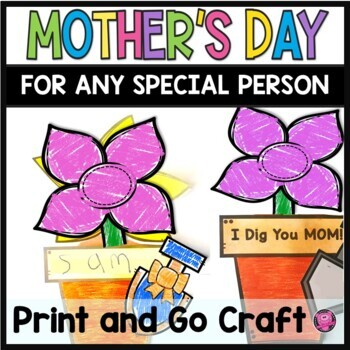 MOTHERS DAY Interactive Flower Crafts and Writing Activities Made by Kids