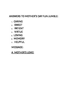 MOTHER'S DAY FUN JUMBLE!