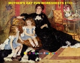 MOTHER'S DAY FUN WORKSHEETS ETC! (COMMON CORE, 72 PAGES)