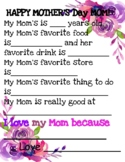 MOTHERS Day questionnaire with various patterns and options