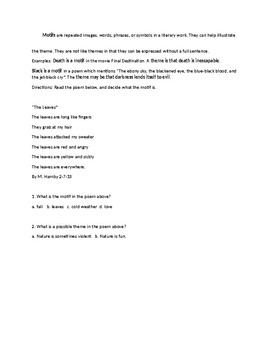 MOTIF and THEME MINILESSON with WORKSHEET and ANSWER KEY