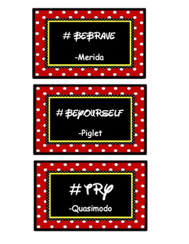 MOTIVATIONAL DISNEY #HASHTAGS W/CHARACTER NAMES FOR BULLETIN BOARD OR ROOM DECOR