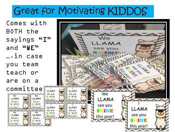MOTIVATIONAL NOTES - LLAMA theme sel/classroom management/PTA/PTO