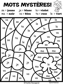 MOTS MYSTÈRES (Saint-Patrick) French color by code sight words