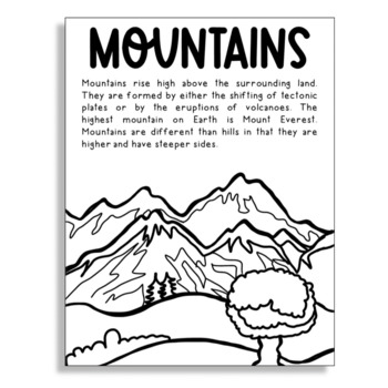 Mountains Biomes And Landforms Coloring Page For Craft Projects And Activities