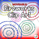 MOVEABLE 4th of July Fireworks Clip Art for Digital Produc