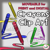 MOVEABLE Crayons Clip Art for Digital Products, Printable