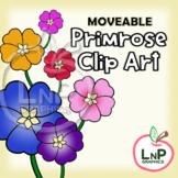 MOVEABLE Spring Primrose Flowers Clip Art for Digital, Pri