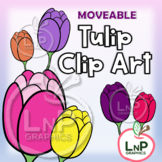 MOVEABLE Spring Tulip Flowers Clip Art for Digital Product