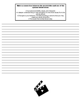 MOVIE THINK SHEET! Classroom Guidance, Character Education or Free Period