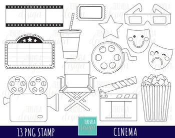 MOVIE clipart, cinema graphics, film clipart, theather, POP CORN,BLACK AND WHITE