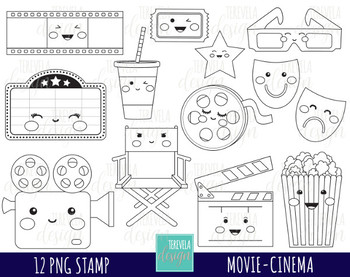 Movie kawaii. Clipart cinema graphics film