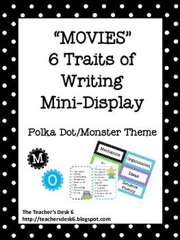 MOVIES Traits of Good Writing Mini-Display Polka Dot Monster Theme