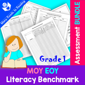 MOY EOY Literacy Benchmark Assessment BUNDLE: Grade 1