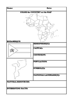 MOZAMBIQUE COUNTRY RESEARCH WORKSHEET