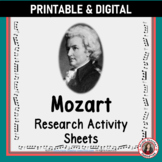 Music Composer: MOZART Music Composer Study and Worksheets