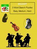 MOZART Word Search Easy Medium Hard - Music Early Finisher - Composer
