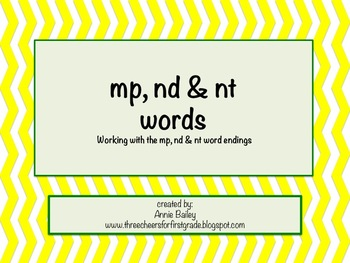 MP, ND & NT Final Blend Word Study Sort and Activities