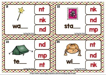 Final Consonant Blends -N- and -M- Clip Cards: MP, NK, ND, NT